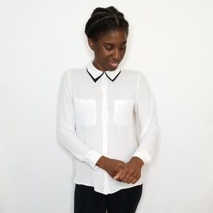 Forever 21 White Button Down Blouse